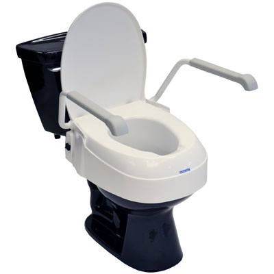 Adjustable toilet seat riser with arms and lid